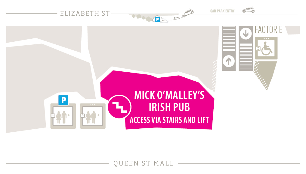 Mick O'Malley's Irish Pub Zoomed in Map